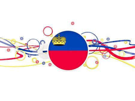 liechtenstein: Flag of liechtenstein, circles pattern with lines. 3D illustration Stock Photo