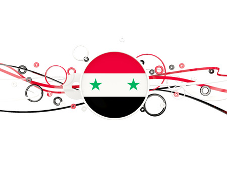 Flag of syria, circles pattern with lines. 3D illustration