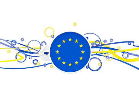 Flag of european union, circles pattern with lines. 3D illustration