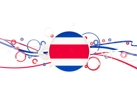 Flag of costa rica, circles pattern with lines. 3D illustration