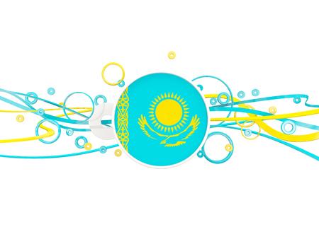 Flag of kazakhstan, circles pattern with lines. 3D illustration Banco de Imagens
