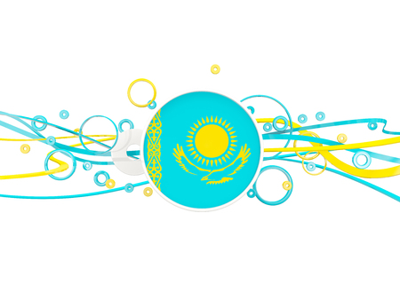 Flag of kazakhstan, circles pattern with lines. 3D illustration Stock Photo