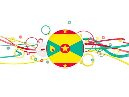 grenada: Flag of grenada, circles pattern with lines. 3D illustration