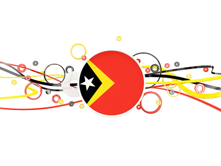 timor: Flag of east timor, circles pattern with lines. 3D illustration