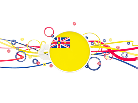 niue: Flag of niue, circles pattern with lines. 3D illustration Stock Photo