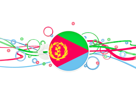 eritrea: Flag of eritrea, circles pattern with lines. 3D illustration