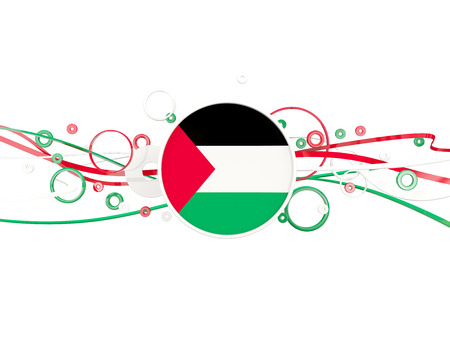 Flag of palestinian territory, circles pattern with lines. 3D illustration