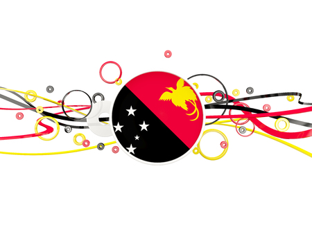 Flag of papua new guinea, circles pattern with lines. 3D illustration