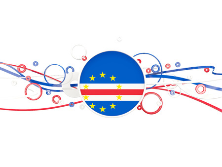 Flag of cape verde, circles pattern with lines. 3D illustration
