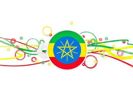 national flag ethiopia: Flag of ethiopia, circles pattern with lines. 3D illustration