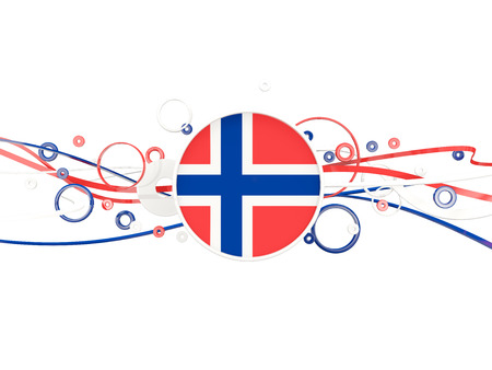 norway flag: Flag of norway, circles pattern with lines. 3D illustration Stock Photo
