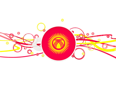 Flag of kyrgyzstan, circles pattern with lines. 3D illustration