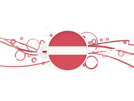 Flag of latvia, circles pattern with lines. 3D illustration Stock Photo