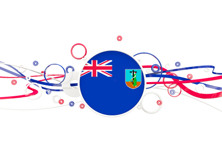 Flag of montserrat, circles pattern with lines. 3D illustration