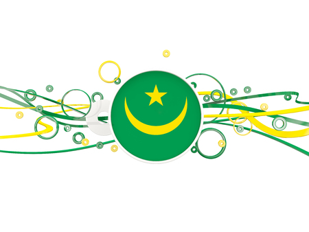 Flag of mauritania, circles pattern with lines. 3D illustration
