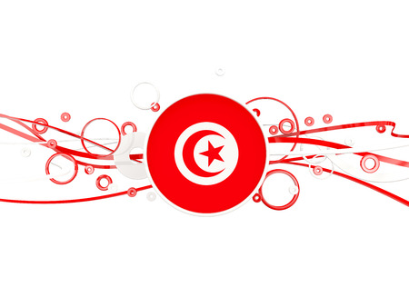 Flag of tunisia, circles pattern with lines. 3D illustration