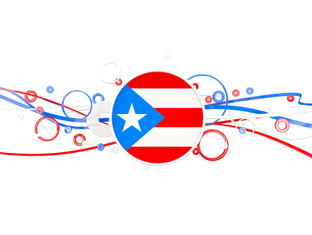 Flag of puerto rico, circles pattern with lines. 3D illustration Stock Photo