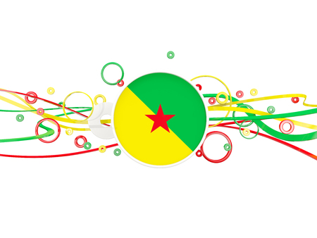 Flag of french guiana, circles pattern with lines. 3D illustration Stock Photo