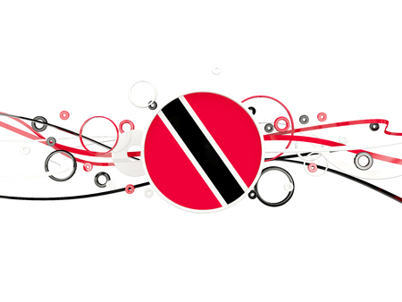 Flag of trinidad and tobago, circles pattern with lines. 3D illustration Stock Photo