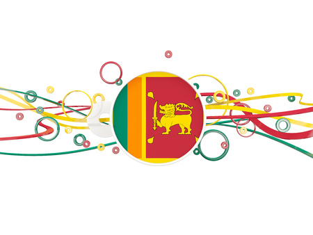 Flag of sri lanka, circles pattern with lines. 3D illustration