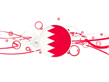 Flag of bahrain, circles pattern with lines. 3D illustration