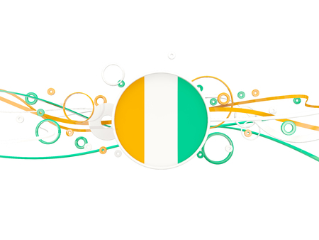 Flag of cote d Ivoire, circles pattern with lines. 3D illustration