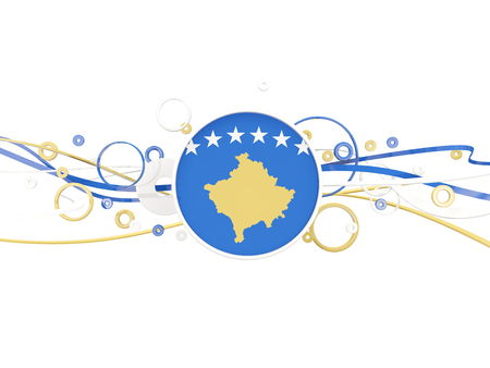 Flag of kosovo, circles pattern with lines. 3D illustration