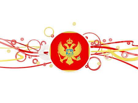 Flag of montenegro, circles pattern with lines. 3D illustration