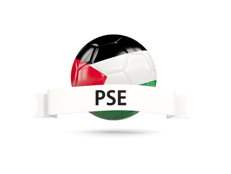 Football with flag of palestinian territory and white banner. 3D illustration