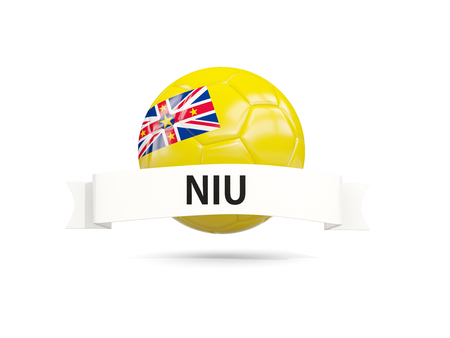 niue: Football with flag of niue and white banner. 3D illustration