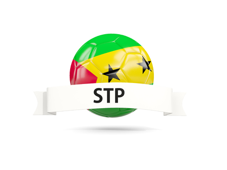 Football with flag of sao tome and principe and white banner. 3D illustration