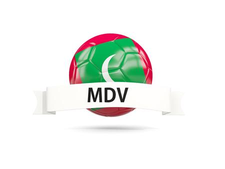 モルディブの旗と白い旗を持つサッカー。3Dイラストレーション