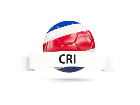 Football with flag of costa rica and white banner. 3D illustration