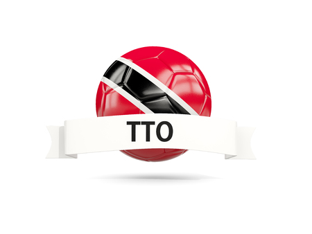 Football with flag of trinidad and tobago and white banner. 3D illustration