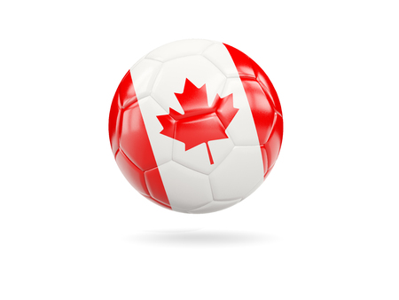 Football with flag of canada isolated on white. 3D illustration