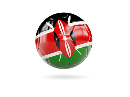 Football with flag of kenya isolated on white. 3D illustration
