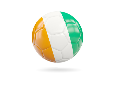 Football with flag of cote d Ivoire isolated on white. 3D illustration Stock Photo