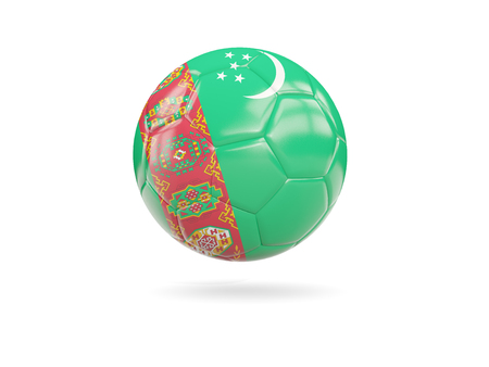 turkmenistan: Football with flag of turkmenistan isolated on white. 3D illustration