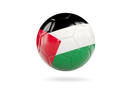 Football with flag of palestinian territory isolated on white. 3D illustration