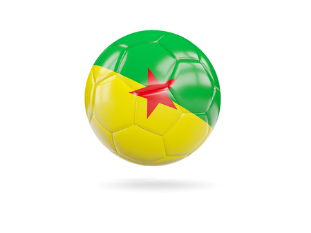 guiana: Football with flag of french guiana isolated on white. 3D illustration