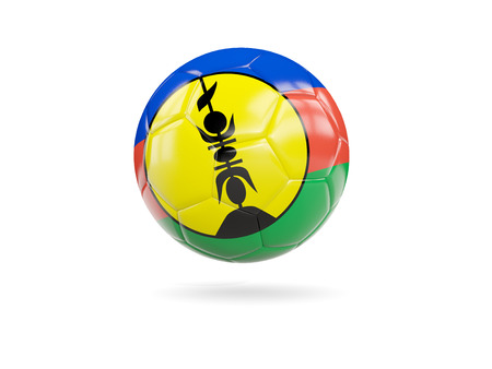 Football with flag of new caledonia isolated on white. 3D illustration Stock Photo