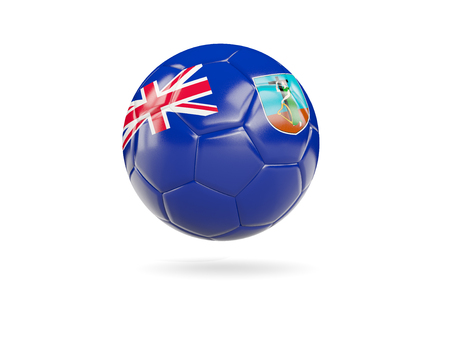 Football with flag of montserrat isolated on white. 3D illustration