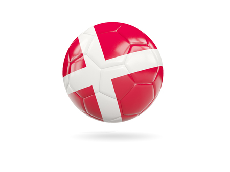 Football with flag of denmark isolated on white. 3D illustration