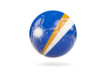 Football with flag of marshall islands isolated on white. 3D illustration Stock Photo
