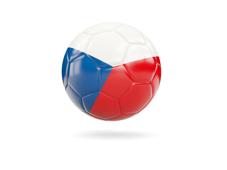 Football with flag of czech republic isolated on white. 3D illustration