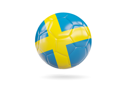 Football with flag of sweden isolated on white. 3D illustration