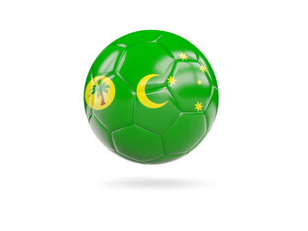 Football with flag of cocos islands isolated on white. 3D illustration