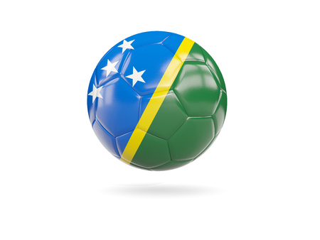 Football with flag of solomon islands isolated on white. 3D illustration