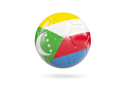 Football with flag of comoros isolated on white. 3D illustration Stock Photo