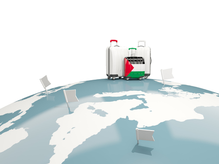 Luggage with flag of palestinian territory. Three bags on top of globe. 3D illustration Stock Photo